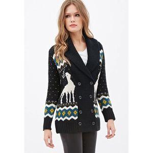 NWT Chunky Knit Fleece Reindeer Cardigan Sweater